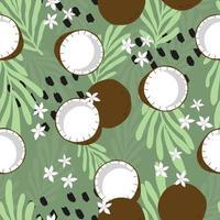 kokosnöt med tropiska löv på grön bakgrund.