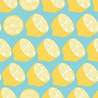 frukt seamless mönster, citronhalvor och skivor vektor