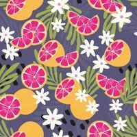 frukt seamless mönster, grapefrukt med tropiska blad