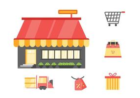 Freie einzigartige Supermarkt-Cart-Vektoren vektor