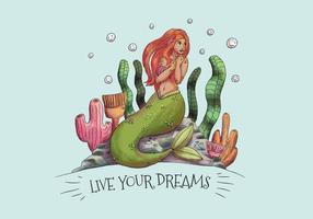 Nette Meerjungfrau sitzt über Stein mit Algen und Korallen vektor