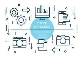 Gratis linjär Office Marketing Elements vektor
