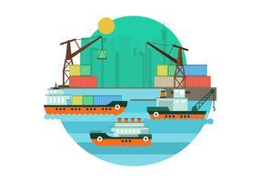 Gratis Shipyard Vector Illustration