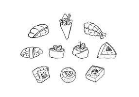 Kostenlose japanische Lebensmittel Skizze Icon Vector