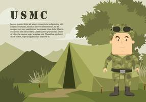 USMC tecknad karaktär vid djungeln fri vektor