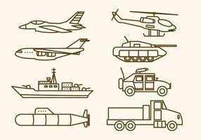 Plana militära vapenvektorer vektor