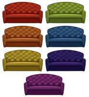 isolierte Reihe von Sofa in sieben Farben vektor