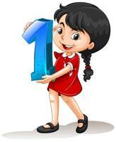 asiatisches Mädchen hält Mathe Nummer eins vektor