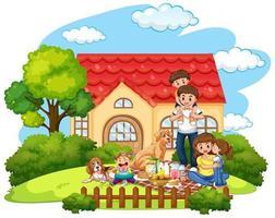 familjens picknick framför gården vektor
