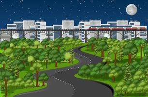 stad med naturparklandskap på nattscenen vektor