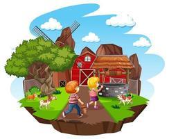 Bauernhof mit roter Scheune und Windmühle auf weißem Hintergrund