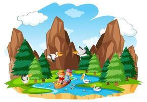barn ror båten i skogsscenen på vit bakgrund vektor