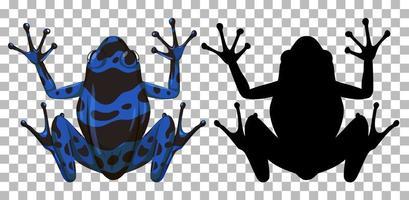 blå gift dart groda med sin silhuett på transparent bakgrund