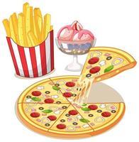 Fast Food oder Junk Food Mahlzeit isoliert auf weißem Hintergrund