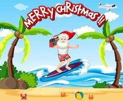 jultomten surfa på stranden för sommarjul vektor