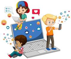 barn med sociala medier på vit bakgrund