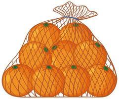 Orangen im Netzbeutel-Karikaturstil lokalisiert auf weißem Hintergrund vektor