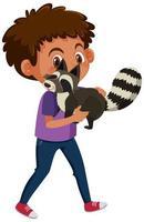 pojke som håller söt djur seriefigur isolerad på vit bakgrund vektor