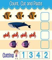 Mathe-Arbeitsblatt für Kinder zählen, ausschneiden und einfügen vektor