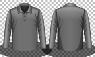 graues Langarm-Poloshirt vorne und hinten vektor
