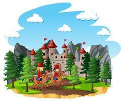 Märchenszene mit Schloss und königlicher Soldatengarde auf weißem Hintergrund