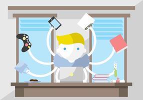 Multitasking Student Vektor-Illustration