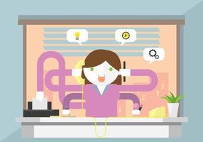 Der Multitasking-Sekretär vektor