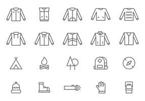 Outdoor-Oberbekleidung und Ausrüstung Vektoren
