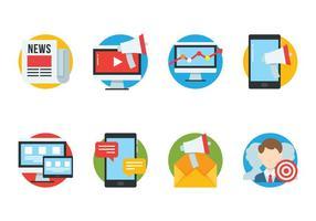 Seo platt ikoner uppsättning