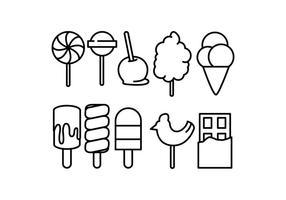 Freie Süßigkeiten und Eiscreme-Linie Symbol Vektor
