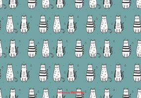 Doodle katter vektor mönster