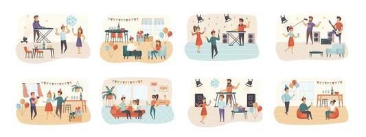 Party-Bündel von Szenen mit flachen Personencharakteren