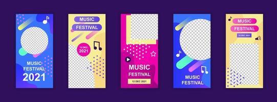 Musikfestival bearbeitbare Vorlagen für Social-Media-Geschichten vektor