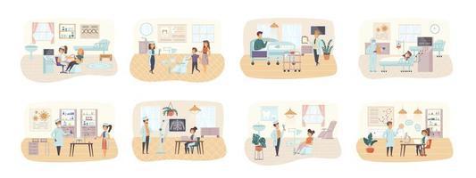 medicinsk vård bunt av scener med människor karaktärer