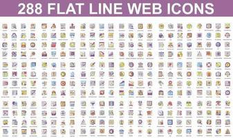 Bündel von flachen Liniensymbolen verschiedener Konzepte vektor