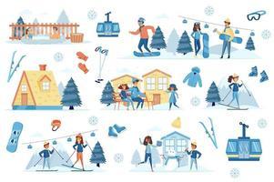 Winter Resort Bündel von flachen Szenen vektor
