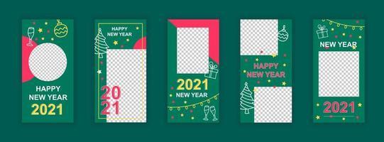gott nytt år 2021 redigerbara mallar för sociala medier vektor