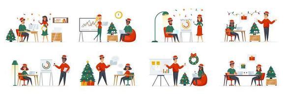 företags jultid bunt scener med människor karaktärer vektor