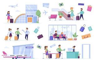 flygplatsbunt med platta scener. vektor