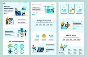 webbplats utveckling platt målsida vektor