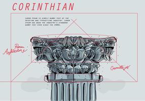 Korinthische architektonische Blaupause Skizze Vektor