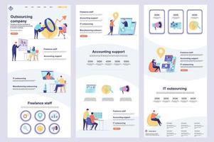 outsourcing företag platt målsida vektor