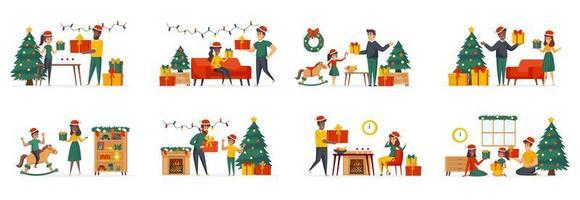 Präsentieren von Geschenken Bündel von Szenen mit flachen Personen Zeichen vektor