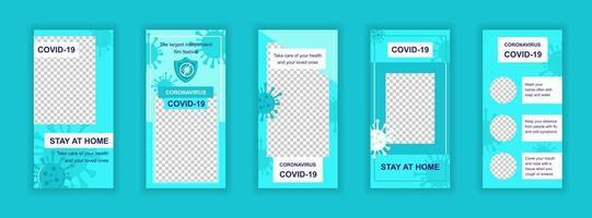 Coronavirus Covid-19 bearbeitbare Vorlagen für soziale Medien vektor