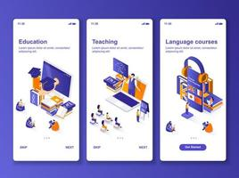 Sprachkurse isometrisches GUI-Design-Kit