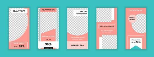 Bearbeitbare Vorlagen für den Schönheitssalon für Social-Media-Geschichten vektor