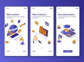 Webanalyse isometrisches GUI-Design-Kit vektor
