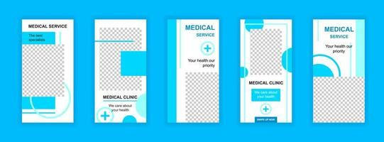 redigerbara mallar för medicinsk service för berättelser på sociala medier. vektor