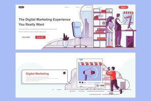 Zielseiten für digitale Marketingagenturen festgelegt vektor