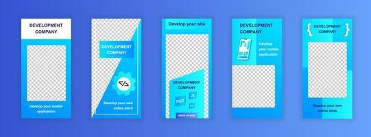 Bearbeitbare Vorlagen für Entwicklungsunternehmen für Social-Media-Storys vektor